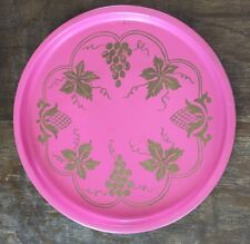 Vintage Pink Tin Metal Tray with Gold Tone Grape Leaf Grape Cluster Barware