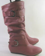 "new ladies burgundy 1.5""hidden wedge heel round toe mid-calf boots Size 6.5"