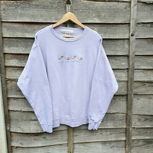 Pastel Stone Harbour Spellout Embroidered Sweatshirt. Made In USA