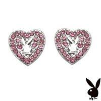 Playboy Earrings Heart Bunny Stud Logo Silver y2k Play Boy NOS NWT NIB HTF RARE