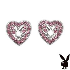 Playboy Earrings Heart Bunny Studs Pink Swarovski Crystals Platinum Plated Box