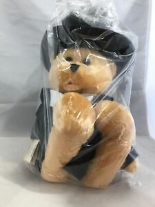 "Chantilly Lane Singing Tan Stuffed Bear Tuxedo Black Top Hat 22"" Fred"