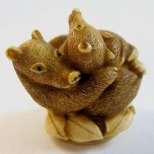 MPS Harmony Kingdom - QTs - Small Badgers Figurine - Inspired by Netsuke - NIB