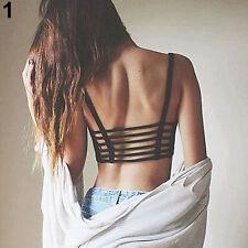Lady Fashion Bralette Caged Back Cut Out Strappy Padded Bra Bralet Vest Crop Top