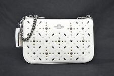 Coach 22867 Prairie Rivets Studded Nolita Leather Wristlet in Chalk White $225
