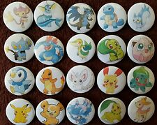 20 x Pokemon Button Badges (Set 1).  Pins. Wholesale. Collector. Bargain :0)