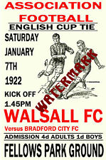 WALSALL - VINTAGE 1920's STYLE MATCH POSTER