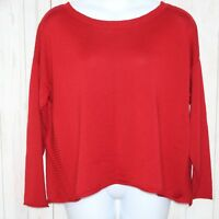 EILEEN FISHER XL 100% Italian Merino Wool Red Scoop Neck Tunic Sweater Career