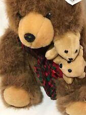 "Vintage Rare DAN DEE Plush 15"" Mama Bear w/2 Baby Bear Cubs In Holiday Stocking"