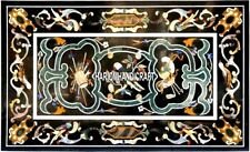 Marble Black Furniture Table Kitchen Semi Inlay Collectible Home Decorativ H3875