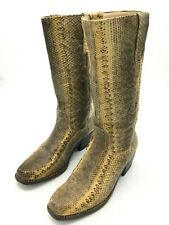 Vintage Python Tall Western Square Toe Boots Women's 10/ Men's 11