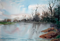 Oxford port meadow river Thames countryside watercolour original painting A3