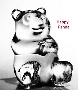 BIG NEW in BOX STEUBEN Glass HAPPY PANDA ornament bear heart art true love koala