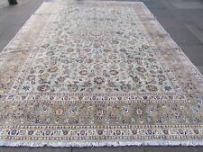 Vintage Hand Made Traditional Oriental Wool Green Large Carpet 388x279cm