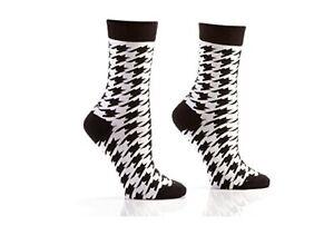 Yo Sox Women's White and Black Houndstooth Crew Dress Socks