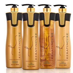 Keratin Cure Hair Treatment Gold & Honey Bio 32 Oz Silky Straightening 4pc Kit