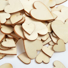 New Pack 100 Mixed 20/30/40mm Hearts Shape MDF Wooden Wood Craft Arts Decoration