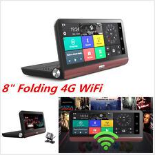 "8"" 4G Folding WiFi Android Car Dash Kit DVR Dual Camera GPS Navigation Free Map"