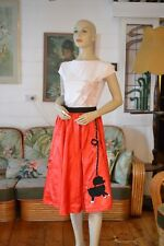 Retro Womens poodle skirt red hand made costume