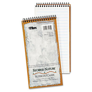 """""""TOPS Second Nature Spiral Reporter/Steno Notebook, Gregg Rule, 4 x 8, 70 Sheet"""""""