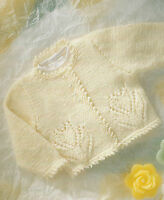 "Baby Cardigan with Flower motif Knitting Pattern DK Picot edge  16-22"" 471"
