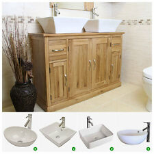 Solid Oak Double Vanity Unit with Twin Basin Sink Tap | Bathroom Furniture 1142