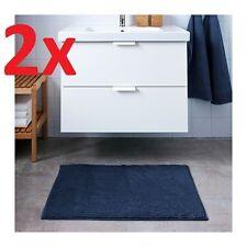 2x IKEA TOFTBO Non-Slip Microfibre Bathroom Bath Mat Bathmat Rug 60x90cm in Blue