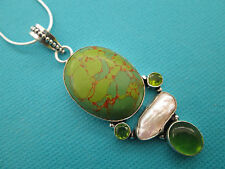 925 Sterling Silver Pendant With Natural Green Copper Turquoise, Pearl  (nk1375)