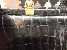 Black Shiny Alligator 40s Purse w/ 2 Handles Made in Mexico Beautiful