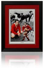 Large GARETH EDWARDS Hand Signed Framed WALES Rugby WRU Montage COA AFTAL