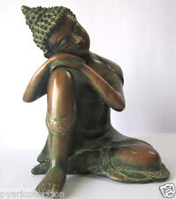 GIFT & DECOR RESTING BUDDHA STATUE VINTAGE COPPER FINISH BUDDHA PEACE BUDDHA