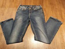 Women's Silver Suki Mid Slim Boot Straight Cut Fluid Denim Jeans Size W30/L33