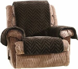 Sure Fit Quilted Faux Fur  chocolate  Recliner Furniture Cover
