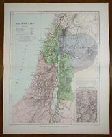 "Vintage 1896 HOLY LAND Atlas Map 11""x14"" ~ Old Antique BIBLICAL BIRTHPLACE BIBLE"