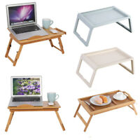 New Adjustable Bed Tray Lap Desk Serving Table Folding Legs Bamboo Food Dinner