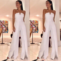 Women's Sleeveless Bandeau Evening Prom Party Ball Gown Jumpsuit Romper Trousers