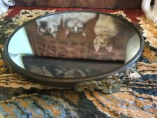 """Antique Vintage Victorian Gold Tone 10"""" Footed Mirrored Plateau Vanity Tray"""