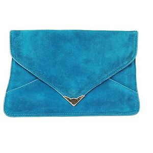 Steve Madden Clutch Purse Aqua Blue Suede Leather Oversized Magnetic Envelope