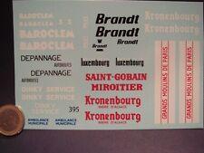 DECALS DIVERS PUB DINKY BAROCLEM / BRANDT / KRONENBOURG / MOULINS DE PARIS  T395