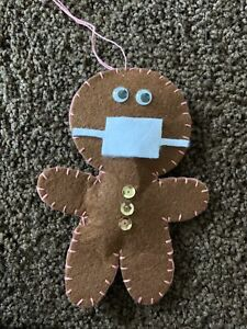 2020 Remembrance -- Felt Gingerbread Man With Mask Ornament