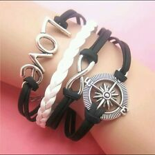 Leather Bracelet Cute Infinity Charm Love Jewelry Silver US