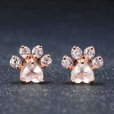 Cute Jewelry Dogs Footprints Ear Stud Rose Quartz Paw Earrings