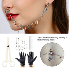 20pcs/set Body Piercing Kit Needle Nipple Belly Tongue Eyebrow Nose Lip Ring se