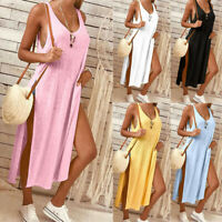 Hot Women Solid Solid Sleeveless Vest T-shirt With Holiday Beach Dress