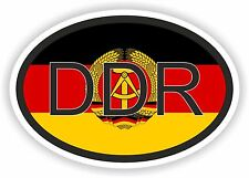 DDR German Country Code Oval Sticker With Flag for Helmet Fridge Home Work