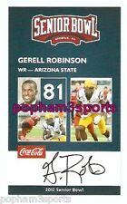 GERELL ROBINSON - 2012 SENIOR BOWL CARD - ARIZONA STATE SUN DEVILS, AZ ST