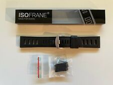 Isofrane ® Watch Band Rubber Dive Strap Diver 24mm Black New with Spare Keepers