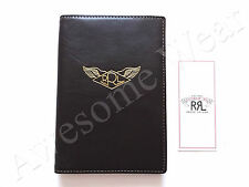 New Ralph Lauren RRL Dark Brown Leather Passport Case Logo Bifold Wallet