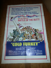 "Dick Van Dyke Poster Cold Turkey Movie Folded One Sheet 40"" x 27"" 1971 Smokers"