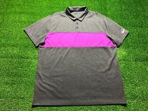 Nike Dri-Fit Golf Men's Short Sleeve Polo Shirt Size 2XL XXL Pink Gray